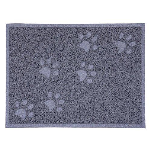 SUAVER Tapis pour Bac à Litière Etanche en PVC Elastique de Haute Qualité Tapis pour Bac à Litière - 30 x 40cm (Gris)