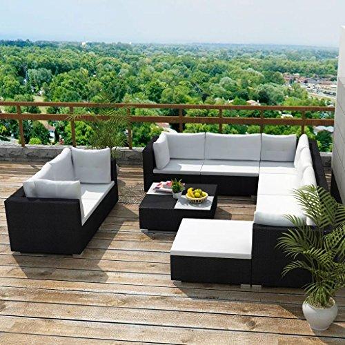 Lingjiushopping Ensemble de meubles de jardin 32 pièces en rotin synthétique noir + structure en acier avec revêtement en poudre