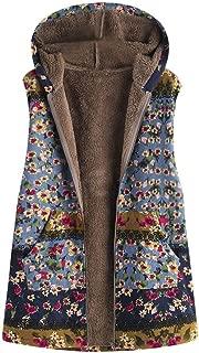 JOFOW Womens Flannel Lined Vest Boho Floral Print Block Patchwork Hooded Sleeveless Jackets Coat Plus Size XXXL