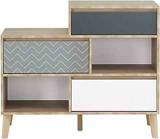 Meubletmoi Commode bibliothèque 3 tiroirs 2 niches décor chêne Beige, Blanc, Bleu - Design scandinave Rangement Chambre - ...