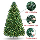 OurWarm 7FT Pre-Lit PVC Artificial Christmas Tree Xmas Pine Tree Holiday Decorations with w/400 UL-Certified LED Lights, 1300 Branch Tips, Foldable Metal Stand, Green