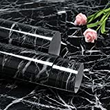 Feisoon 15.7'x78.7' Black Marble Contact Paper Peel and Stick for Kitchen Countertops Cabinet Furniture Renovation Waterproof Black Marble Wallpaper Removable and Self Adhesive Thick Marble Paper
