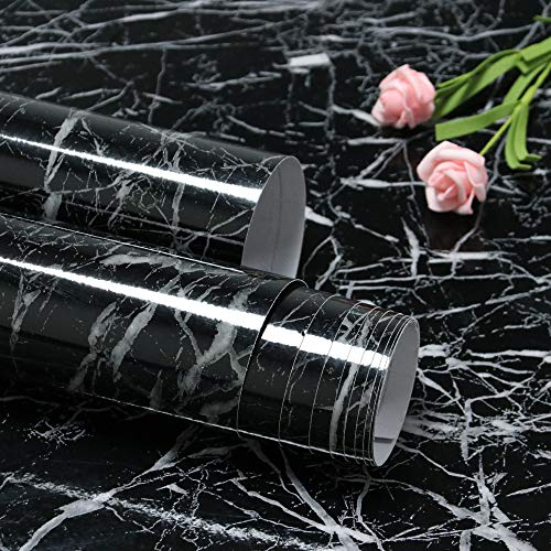 Feisoon 15.7'x118' Black Marble Contact Paper Peel and Stick for Kitchen...
