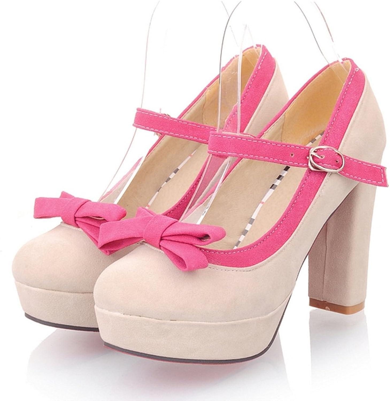 DecoStain Women's Suede Bowtie Ankle Strap Block High Heel Platform Pumps Party Wedding Work Dress shoes