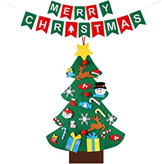 MINGPINHUIUS Felt Christmas Tree for Toddlers Kids with Merry Christmas Banner, Xmas Felt Tree for Home Retail Walls Windows Door Hanging Ornaments Decorations (Style 1-26pcs)