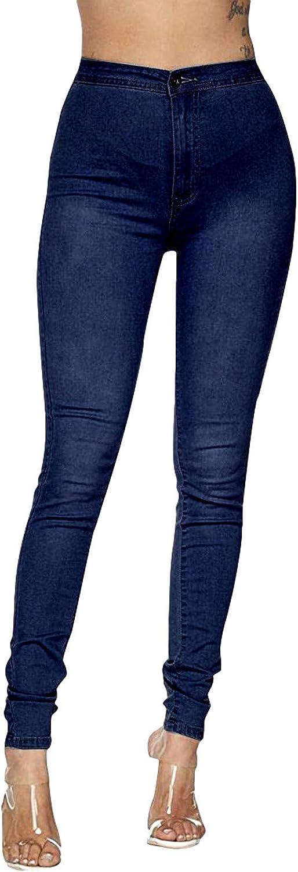 FUNEY Womens Juniors Classic Stretch High Waist Denim Skinny Jeans Casual Slim Fit Button Zipper Pocket Denim Pants