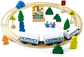 comprar comparacion jerryvon Juguete de Madera Tren de Madera Circuito Coches Pista Construcciones con Tren Eléctrico Educativo Regalo para Ni...