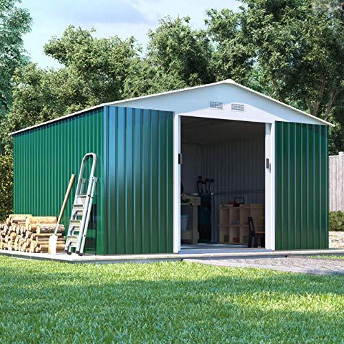 BillyOh Boxer Apex Metal Shed | Heavy-Duty Steel Garden Storage | Large Metal Storage Shed | 11x10 Garden Shed- Dark Green