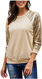 Fankle Women's Long Sleeve Round Neck Sequins Splice Tunic Casual Raglan Tops Blouses T-Shirts Plus Size S-5XL