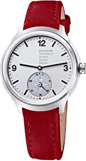 Mondaine Helvetica No1 Bold Stainless Steel Mens Smartwatch Red Leather Strap Silver Dial MH1.B2S80.LC Quartz