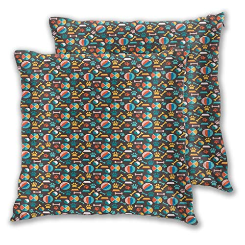 LISNIANY Cushion Cover,Pattern with Puppy Food Paw Traces Bowls and Toys Veterinary Pet Lover Themed Print,Pillow Case Cover Square Cushion Cover for Sofa Car Home Bed Decor 45 x 45cm