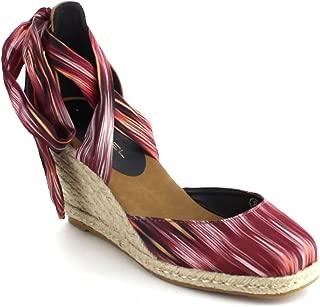 C LABEL Rollin-3 Womens Lace Up Criss Cross Espadrille Wedge Sandal