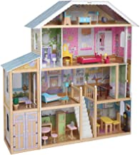 """JOYMOR 48"""" Large Dollhouse with Furniture, Wooden Play Mansion with Elevator, DIY Dollhouse Kit Dream Doll House for Littl..."""