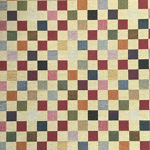 Kt KILOtela Tela de tapicería - Jacquard Gobelino - Retal de 100 cm Largo x 280 cm Ancho   Cuadros Grandes - Rojo, Naranja, Verde, Azul, Beige ─ 1 Metro