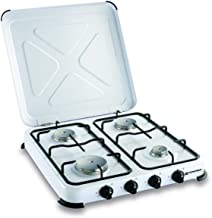 Plaque de cuisson gaz portable 4 feux kemper- 4650 W - blanc laqué