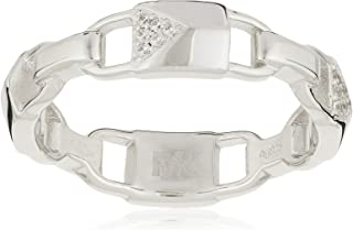 Michael Kors Women Cubic Zirconia Michael Kors Rhodium Plated Sterling Silver Pave Mercer Link Ring for Women, Size 6 6 US