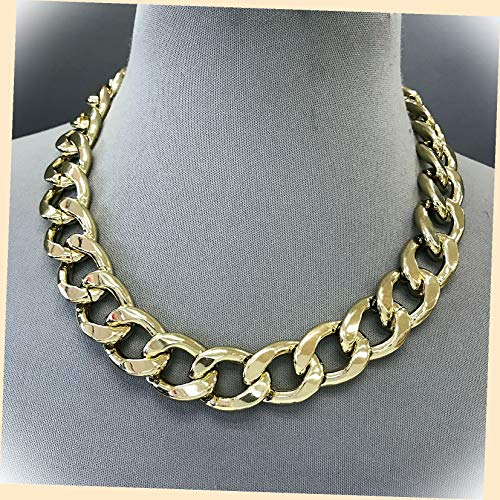 Gold Finished Chain 0.75' Thick Cuban Link Designer Inspired Hip Hop Necklace Set For Women + Gold Cotton Filled Gift Box for Free