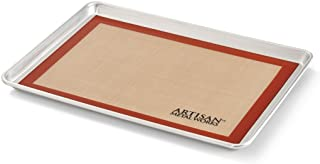 Artisan 2-Piece Professional Baking Set with Half-Size Cookie Sheet Pan and Silicone Baking Mat with Red Border