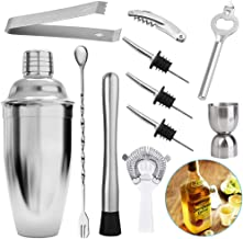 Cocktail Shaker Bartender Set Of 11 Pieces, 550 ML Stainless Steel Bartender Kit For Martini Cocktail Mixing, With Jigger,...