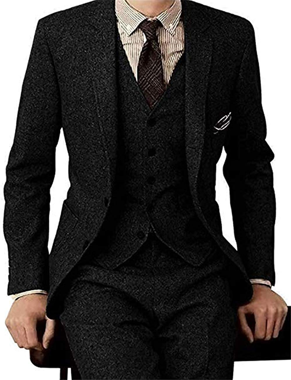 Men's Tweed Herringbone 3 Pieces Suit Slim Fit Groom Tuxedos Formal Vintage Blazer Vest Pants Set