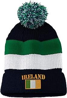 Vintage Pom Pom Beanie Ireland Flag Embroidery Skull Cap Hat for Men & Women