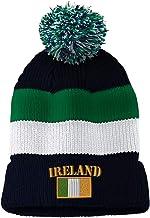 Vintage Pom Pom Beanie Ireland Flag Embroidery Acrylic Skull Cap Hat for Men & Women Navy Stripes