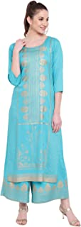 PINKY PARI TURQUOISE RAYON FOIL PRINTED STRAIGHT FIT KURTA AND FLARED PRINTED PALAZZO SET