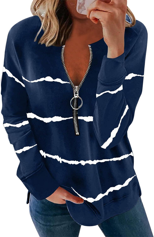 Sweatshirts for Women Vintage,Womens Plus Size Long Sleeve Casual Sweatshirts Lightweight Striped Zipper Pullover