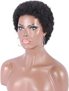 Kalyss 100% Human Hair Short Black Afro Kinky Curly Wigs for Women Lightweight Natural Looking Full Hair Wig