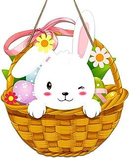 """Hohomark Easter Door Decorations,11.7""""x13.5"""" Easter Bunny Basket Door Sign Easter Door Hanger Signs for Wall Door Home Ind..."""