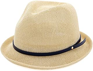Hats and Caps Simple Curling Small Hat Women's Straw Hat Spring Sun Hat Summer British Wind Jazz Hat Sunscreen Straw Hat (Color : Khaki, Size : 56-58CM)