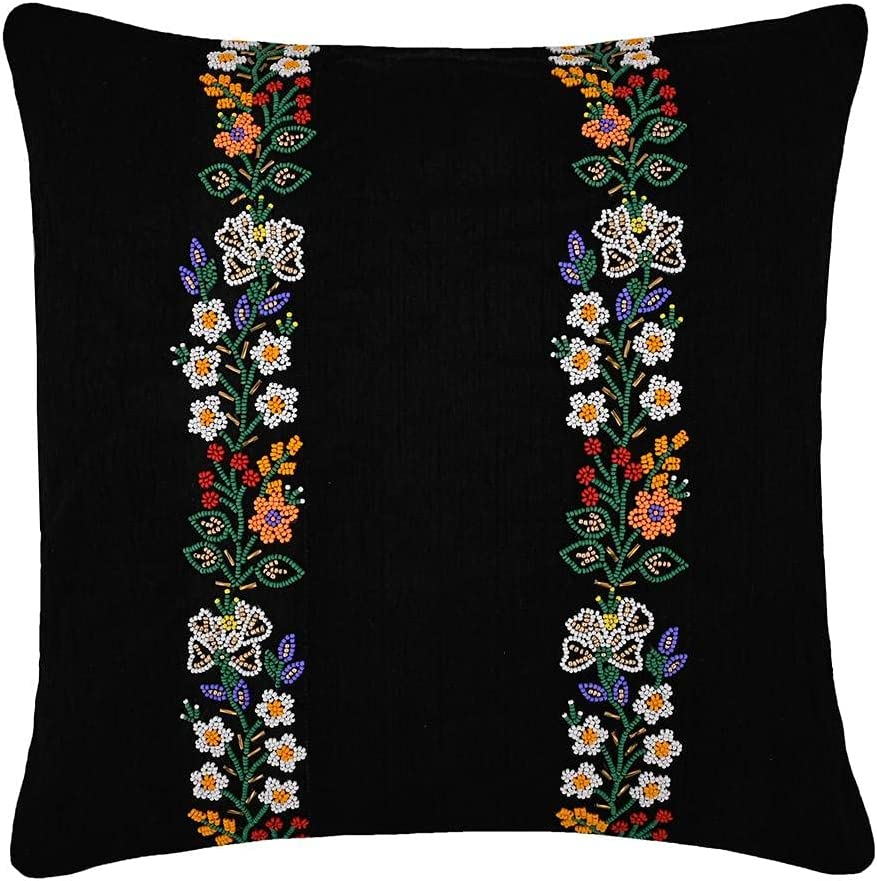 Thread Centric Black Handmade Designer Pillow Indianapolis Mall Cover Throw Direct store Floral