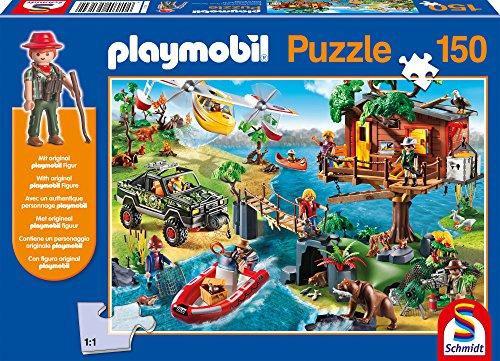 Schmidt Spiele 56164 Baumhaus, 150 Teile Kinderpuzzle, mit Playmobil-Figur, bunt
