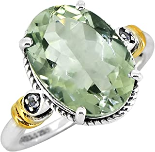 YoTreasure Green Amethyst White Topaz Solid 925 Sterling Silver Gold Plated Ring Gemstone Jewelry For Women or Girls Hypoa...