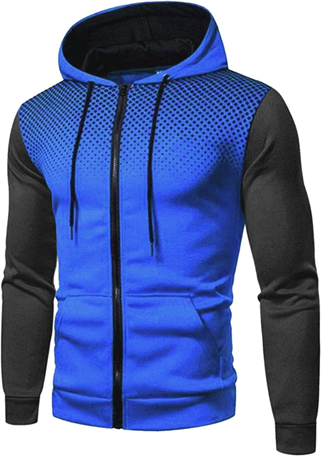 KEEYO Mens Casual Zip Up Hoodie Jacket Lightweight Colorblock Active Athletic Sports Hooded Pullover with Kanga Pockets