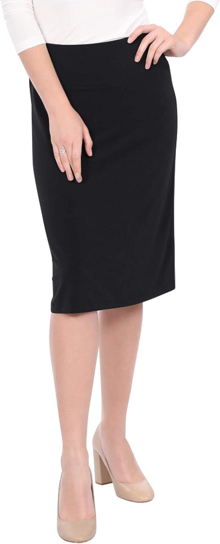 Kosher Casual Midi Knee Skirt for Women in Wrinkle Free Silky Dressy Fabric