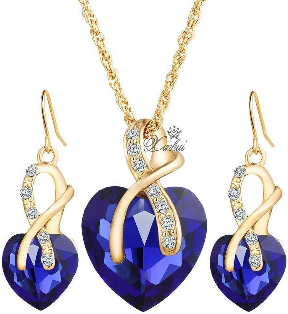 YAZILIND Eternity Love Heart Cubic Zirconia Jewelry Set cz Pendant Necklace Banquet Dangle Earrings Wedding Engagement Women Gift
