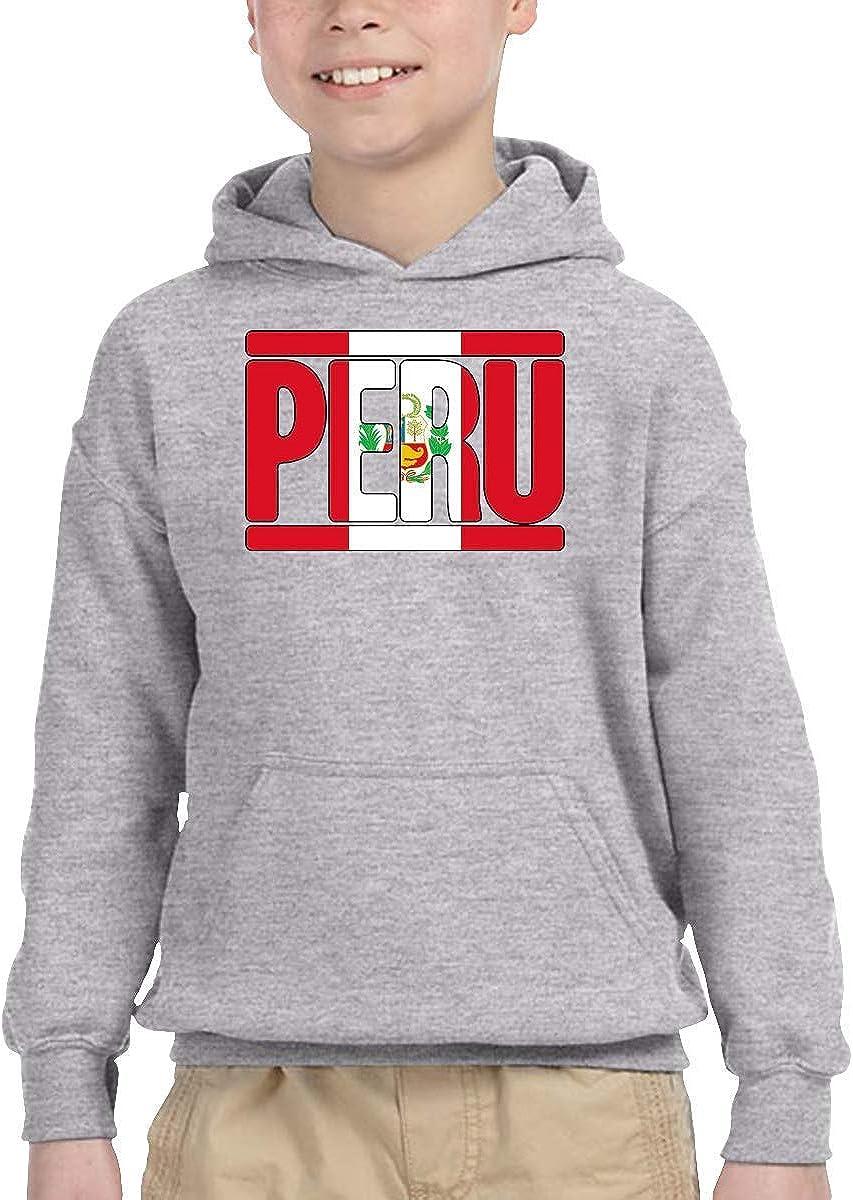 Peruvian Peru Flag Text High quality Kids Pullover Autumn Mail order cheap Hoodie Toddle 2-6 H