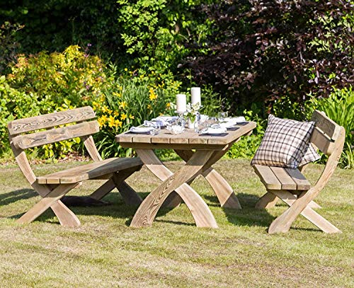 Zest4Leisure Harriet Garden Dining Table and 2 Bench Set - FSC Certified Pressure Treated Wood
