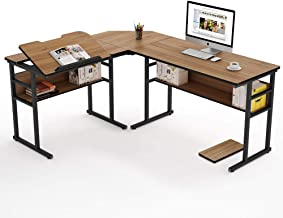 Tribesigns Modern L-Shaped Desk with Bookshelf, 67 inch Double Corner Computer Office Desk Workstation Drafting Drawing Table with Tiltable Tabletop for Home Office (Oak)