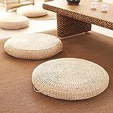 手作り わら フロアクッション,日本語 畳 籐 チェアークッション 布団フラット チェアパッド 厚く 通気 性 パッド 入り ハンドル付き 厚さ:10 Cm 直径:50cm
