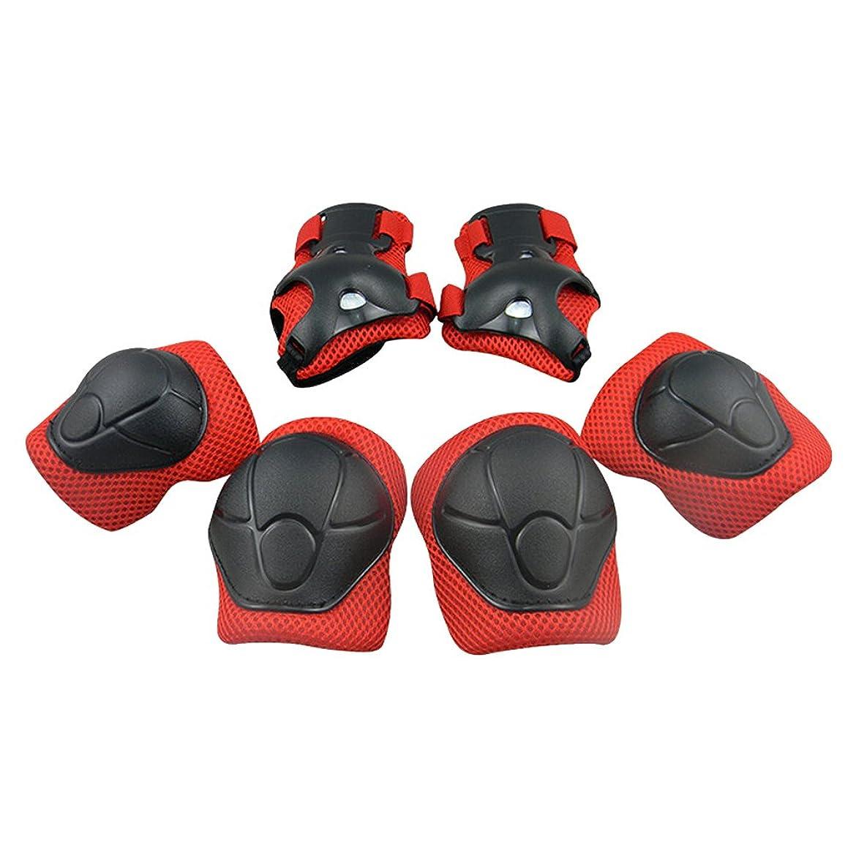 動かないエンジニアリング印象派global I mall キッズプロテクター 膝/肘/手首 スポーツプロテクター 保護パッド 6点セット 自転車 スケートボード キックボード 保護に 専用収納袋付き