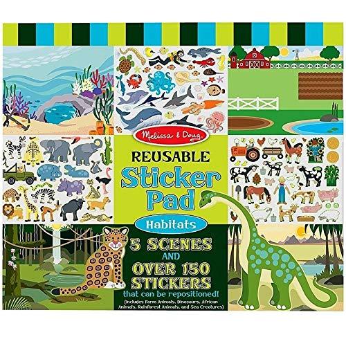 Melissa and Doug - Autocollants 150 Stickers REPOSITIONNABLES Les Animaux + 5 scènes - Enfants dés 3 Ans