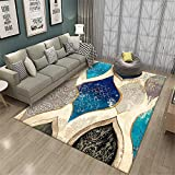 WQ-BBB Alfombra De Salón De Estilo Moderno Alfombra Outlet Insonorizar Estilo Vintage Azul Marrón Habitacion Comedor Pasillo para Mesa Pie De Cama Jarapas 80X160cm