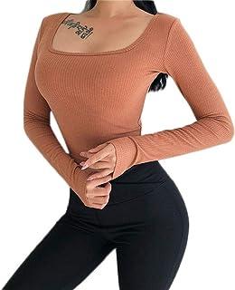DAVAS Women's Activewear Tops Long Sleeves Elasticity Tight Running Yoga Shirt