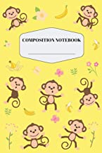 Monkey Composition Notebook: Pretty Yellow Monkey Notebook for Elementary and Middle School | Cute Safari Jungle Monkey Composition Journal for Girls ... Journal with Banana Butterfly Flower Pattern
