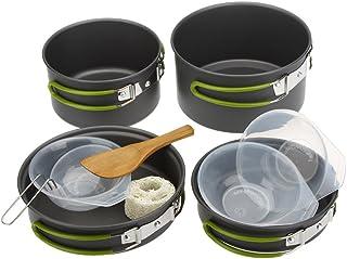 Lixada 2-3人用 多機能 アウトドア食器セット コッへル・クッカーセット 調理器具  キッチンツール 収納袋付き