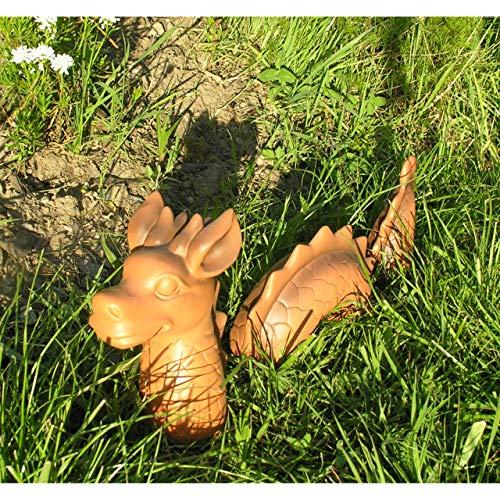 Beo 3-TLG. lustiger Deko Drachen Lindwurm 46x9x20cm Garten Figur Polystone Fantasy