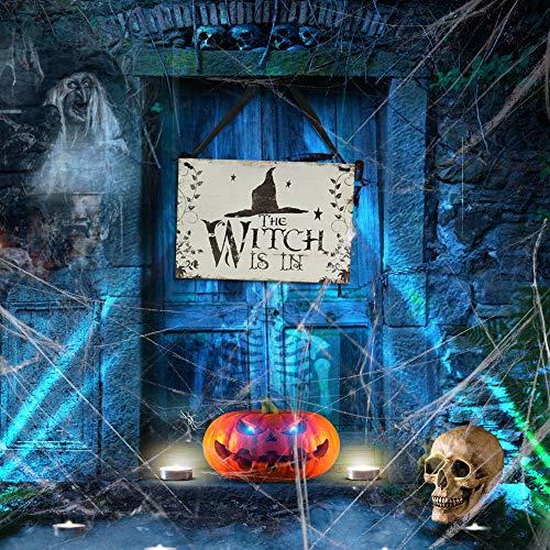 FAVENGO Halloween Schild zum Aufhängen Halloween Hexe Tür-Schilder The Witch is In Willkommen Schild mit Hexenhut Muster Holzschild Hausschild Fensterschild für Bar Spukhaus Einkaufszentren Dekoschild
