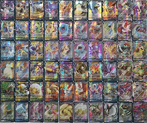 Eholder Pokemon Cards Vmax V 60 pièces Pokemon Trading Cards Set avec 49 V Pokemon Cards 11 Vmax Pokemon Cards